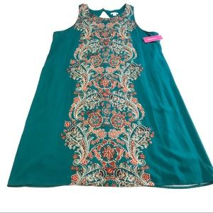 3/$30 Xhilaration Teal shift dress floral design
